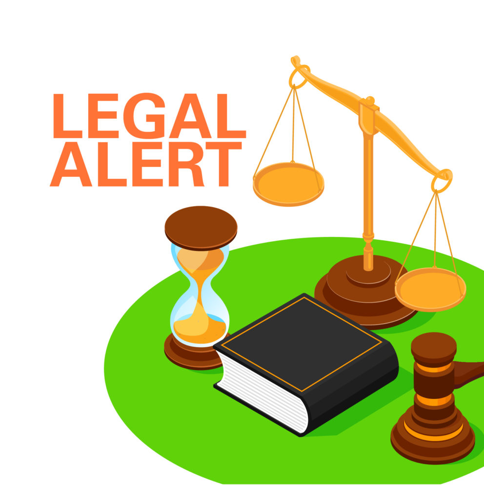 Legal alert graphic with gavel, book, hourglass, and balance