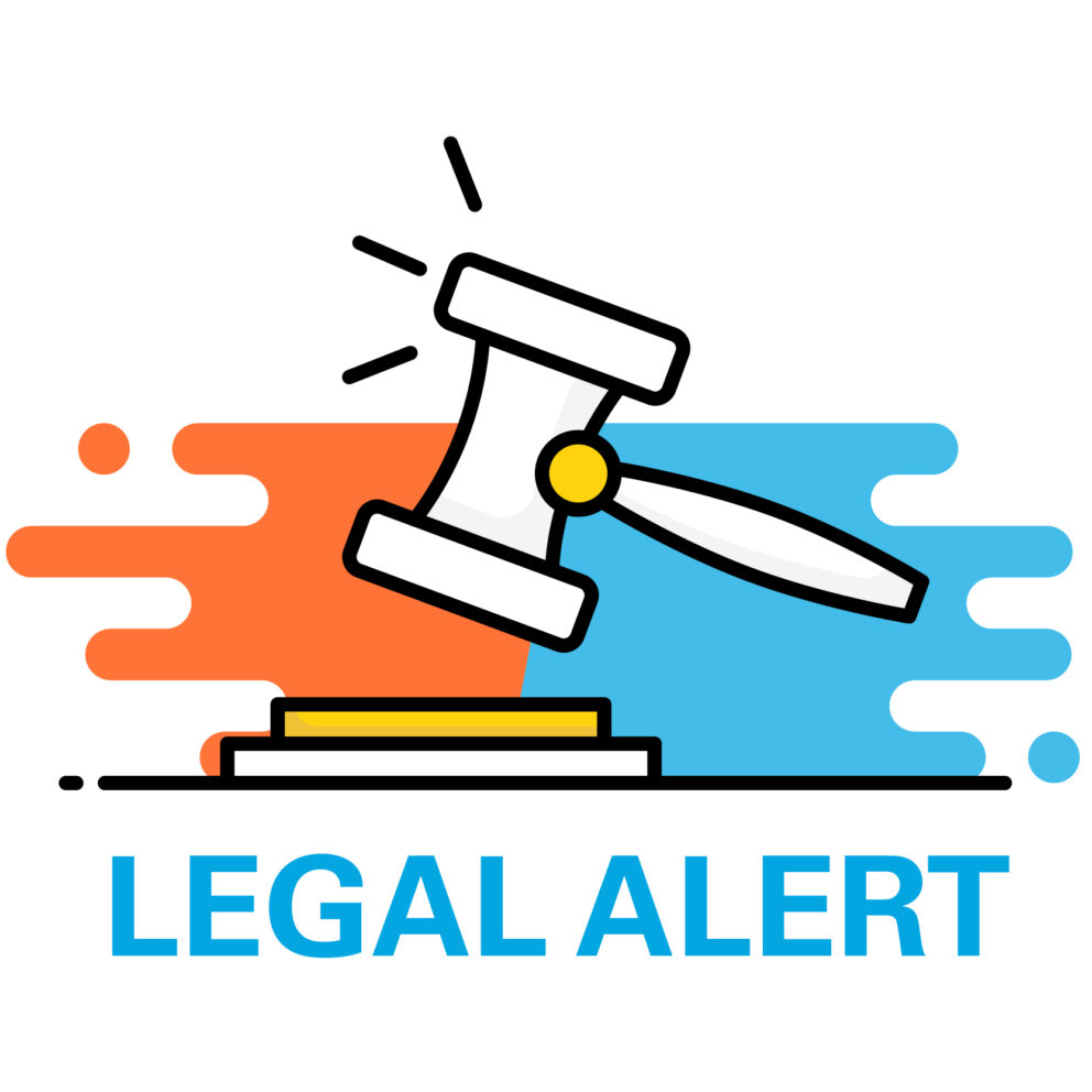 Legal alert graphic with gavel