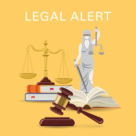 Legal alert - gavel, books, balance