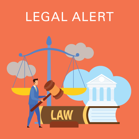 Legal alert - law book, government building and balance