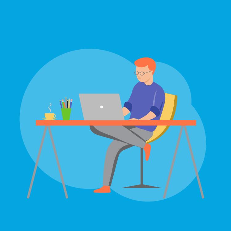 Man working using computer at desk