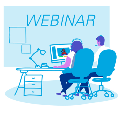 Webinar graphic with two people sitting at desk